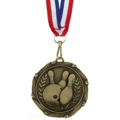 Ten Pin Bowling Combo Medal With a Slim Ribbon AM1057.12-GW