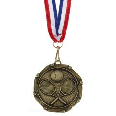 Tennis Combo Medal With a Slim Ribbon AM1059.12-GW