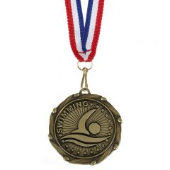 Swimming Combo Medal and Ribbon AM1062.12-GW