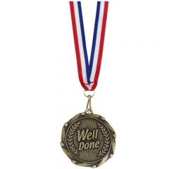 Well Done Combo Medal With A Slim Ribbon AM906G-GW
