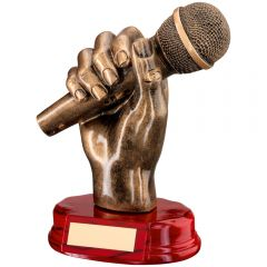 Music Microphone in Hand Trophy RF440-TD