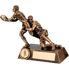 Bronze/Gold Rugby Tackle Trophy RF122-TD