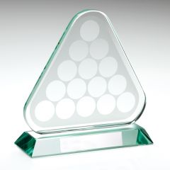 JADE GLASS POOL/SNOOKER BALLS IN TRIANGLE TROPHY KG147-TD