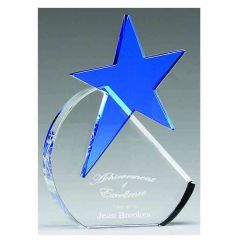 AQUAMARINE STAR CRYSTAL AWARD KS005-GW