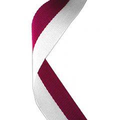 Maroon/White Medal Ribbon MR023-GW