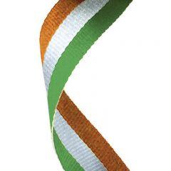 Green/White/Orange Medal Ribbon MR044-GW