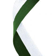 Hunter Green/White Medal Ribbon MR056-GW