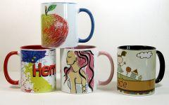 Personalised Mug with Coloured Hanle and Inside 21MEK36101-TP